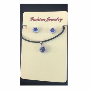 costume silver+sapphire look necklace+ earring set